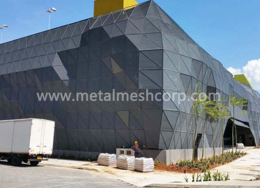 Malla expandida de aluminio para la construcción de fachadas