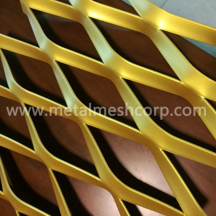 Golden PVDF Painting Expanded Metal Mesh